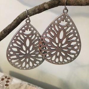 Large Statement Earrings Silver Tone